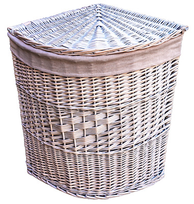 Quality white wash Corner Linen wicker laundry basket