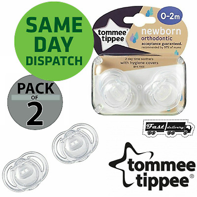 2x Genuine Tommee Tippee Closer to Nature Newborn Soother Dummy 0-2 Months Bab