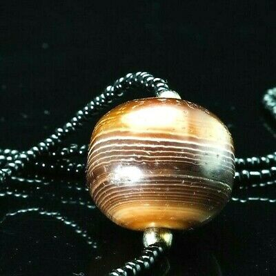 Original Ancient Agate Solomon Sulemani Large 24mm Gorgeous Banded Collectible
