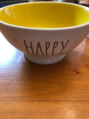 New Rae Dunn Ceramic Cereal Soup Salad Bowl yellow inside HAPPY