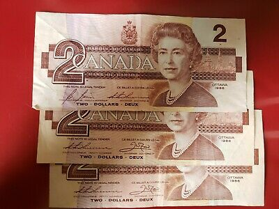 3 Canadian 1986 series two dollar bank notes one lot of 3