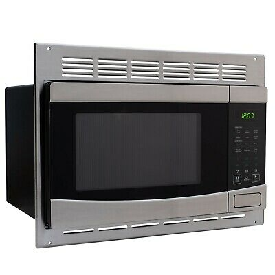 RecPro RV Microwave Stainless Steel 1.0 cu. ft. | Includes Trim Package