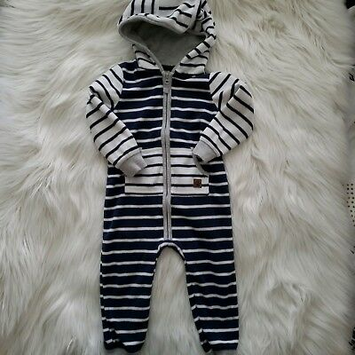 4be3c16b2 Carter's Toddler Boy Navy Blue White Striped Hooded Fleece Jumpsuit 18  Months