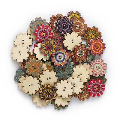 50pcs Retro series Flower Wood Buttons for Sewing Scrapbook Clothing Craft Decor