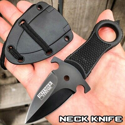 Black Hunting Tactical Combat NECK Knife FIXED BLADE MILITARY DAGGER + Sheath