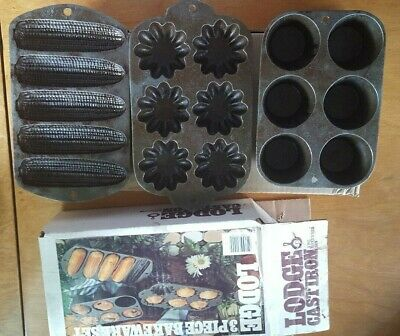 Lodge 3 Piece Cast Iron Cookware corn, flower, muffin with box seasoned