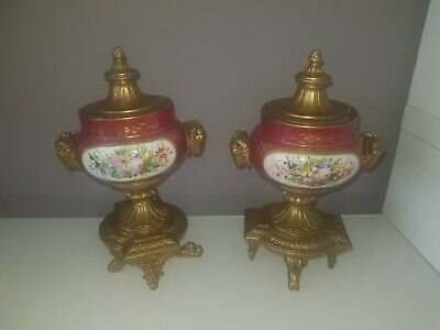 Antique P.h. Mourey Very Rare Gilded Bronze And Ceramic French Urns Vases