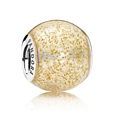 45e0501c2 New Authentic Pandora Golden Glitter Ball Charm Sterling Silver S925 ALE  Pouch