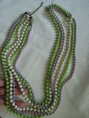 "Vintg old estate 1930's 3-strand green purple white bead Extra-long 48"" necklace"