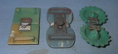 VINTAGE ART DECO CELLULOID TWO PIECE DRESS BUCKLE LOT of 3 CLOTHING ACCESSORIES
