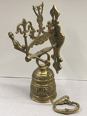 """Vintage Brass Bell Wall Mounted it says on it """"Vocem Meam Audit Qui Me Tangit"""".."""