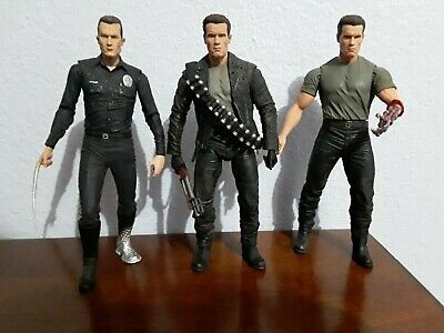 """Neca Ultimate Terminator T-800 and T-1000 Huge Action Figure 7"""" Lot"""