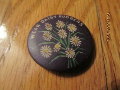 Antique Vintage Circa 1905-07 Wear Daisy Rubbers Pinback Pin Jar Button