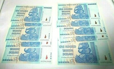 10 Consecutive 2008 ZIMBABWE 100 Trillion Banknote Uncirculated Sequential Notes