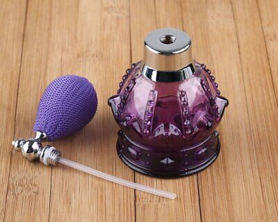 80ml Vintage Crystal Perfume Bottle Spray Atomizer Glass Bottle Lady Gift Purple