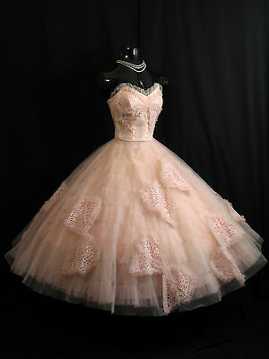 Vintage 1950's 50s Strapless Emma Domb PINK Tulle Lace Party Prom Wedding Dress