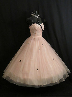 Vintage 1950's 50s Strapless PINK Black Tulle Party Prom Wedding Dress Gown
