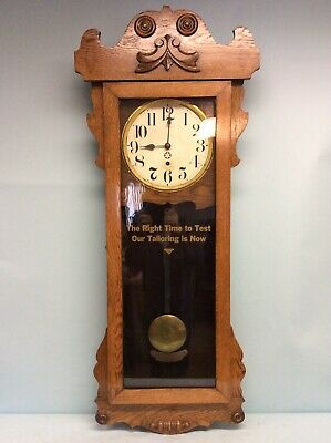 "Antique Oak Mercantile Clock by New Haven Clock Co. 47.5""T"