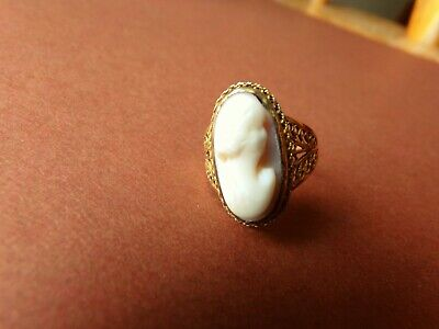 Antique Victorian 14k Yellow Gold Hand Carved Cameo Filigree Ring  2.9 Grams