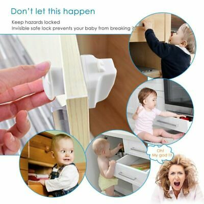 10PCS Magnetic Cabinet Drawer Cupboard Lock for Baby Kids Safety Protection Key