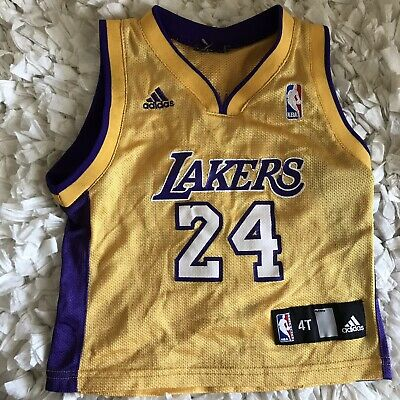 f36767d0776 NBA Adidas Los Angeles Lakers Kids Jersey Kobe Bryant Size 4T Purple Yellow