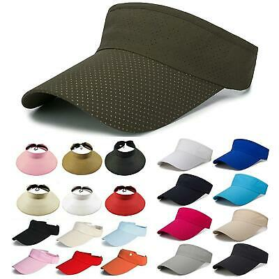 Men Women Plain Visor Sun Hat Golf Tennis Sport Summer Adjustable Wide Brim Caps