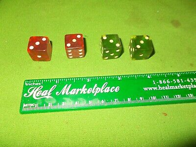 Vintage Red And Green Translucent Dice