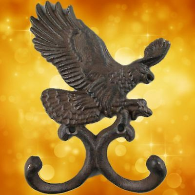 Wardrobe 2 x Eagle Wall Hook Cast Iron Rust. Brown H.15cm Vintage Aesthetics
