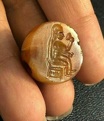 ANCIENT Very Old Carnelian Intaglio Lady Drinking Wine Signet Bead Large pendant