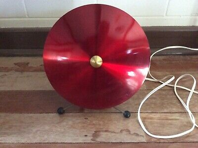 Mid Century Jet Age Retro Tv Saucer Atomic Rocket Candy Apple Red Anodised Lamp
