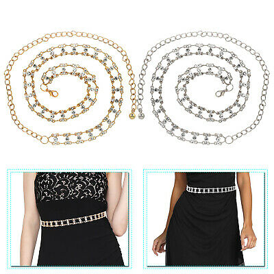 Women Waist Chain Belt Gold Silver Diamante Rhinestones Girls Fashion Accessory