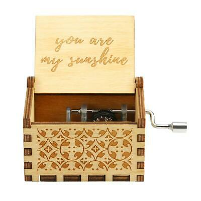 Antique Retro Wood Music Box Hand Cranked Musical Case Home Ornament Gifts