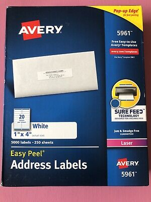Avery 5961  White Easy Peel Address Labels-250 Sheets/5000 Labels/Free Ship