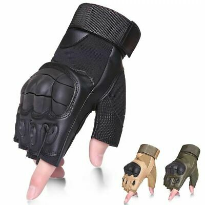 Tactical Hard Knuckle Half Finger Gloves - Army Military Combat Hunting Racing