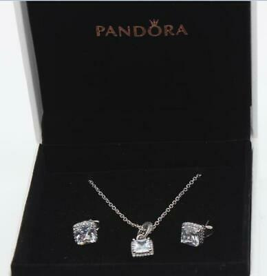 6e0443103 Authentic Pandora Necklace Earrings Gift Set Timeless Elegance  390378Cz,290591Cz