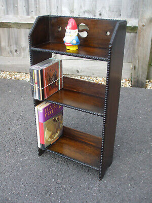 Small antique Arts & Crafts oak Yin-Yang bookcase, very pretty and practical