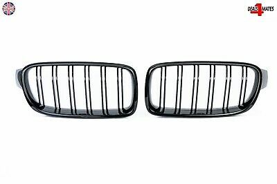 For BMW F30 F31 3 Series M3 Look Sport Kidney Grill Grille Gloss Black Twin Bar