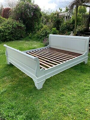 Antique French Sleigh Bateau Bed & Slats 6 Foot Wide