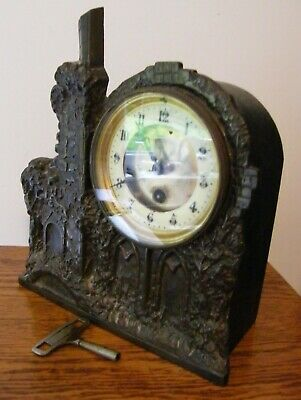 UNUSUAL  ANTIQUE CAST IRON CHURCH MANTEL CLOCK WORKING c1880