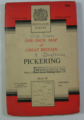 1957 Old OS Ordnance Survey Seventh Series One-Inch CLOTH Map 92 Pickering