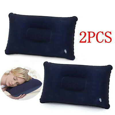 2pcs Inflatable Flocked Pillow Travel Camping Soft Cushion Rest Neck Sleep Blue
