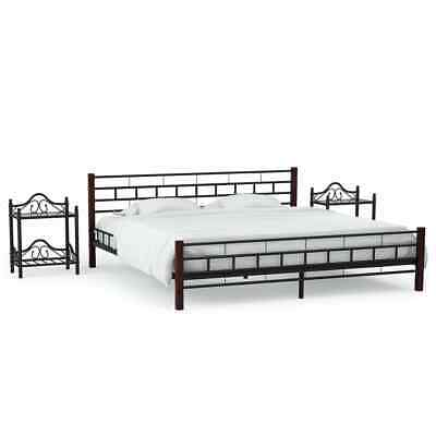 Metal Double Bed Frame Bed Frame Sleeper with 2 Nightstands 140x200cm