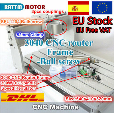 〖ES〗3 Axis 3040 CNC Router Ballscrew Milling Engraver Machine Frame+300W Spindle