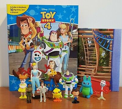 NEW Disney Toy Story 4 My Busy Book + 10 Character Figurines & Playmat