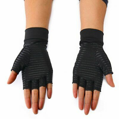 Black Compression Arthritis Gloves Copper Infused Wrist Support Keep Warm