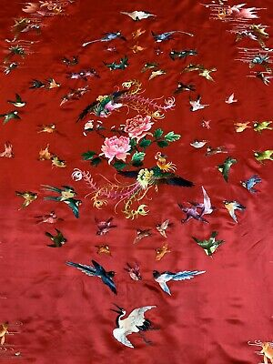 """Antique Chinese Hand Embroidery Panel Wall Hanging 55""""By 75"""""""