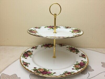 Royal Albert Old Country Roses 2 Tier Cake Stand 1962 Unused 2nd