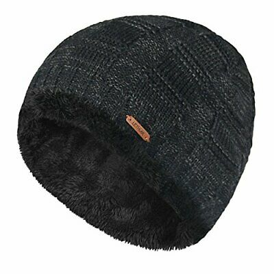LETHMIK Unique Ribbed Knit Beanie Warm Thick Fleece Lined Hat Mens Winter Skull