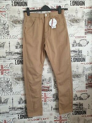 Marks& Spencer Boy's Tan Bow Twisted Leg Trousers Jeans age 12 years twins?