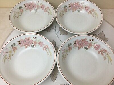 """Boots Hedge Rose 4 x Soup / Cereal Bowls Very Good Used 7"""""""